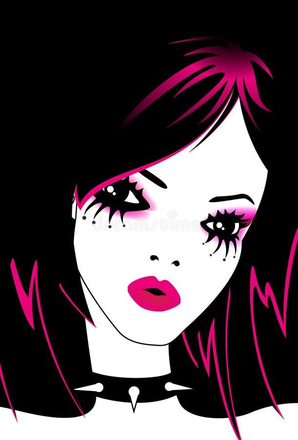 Portrait of beautiful girl of emo vector illustration