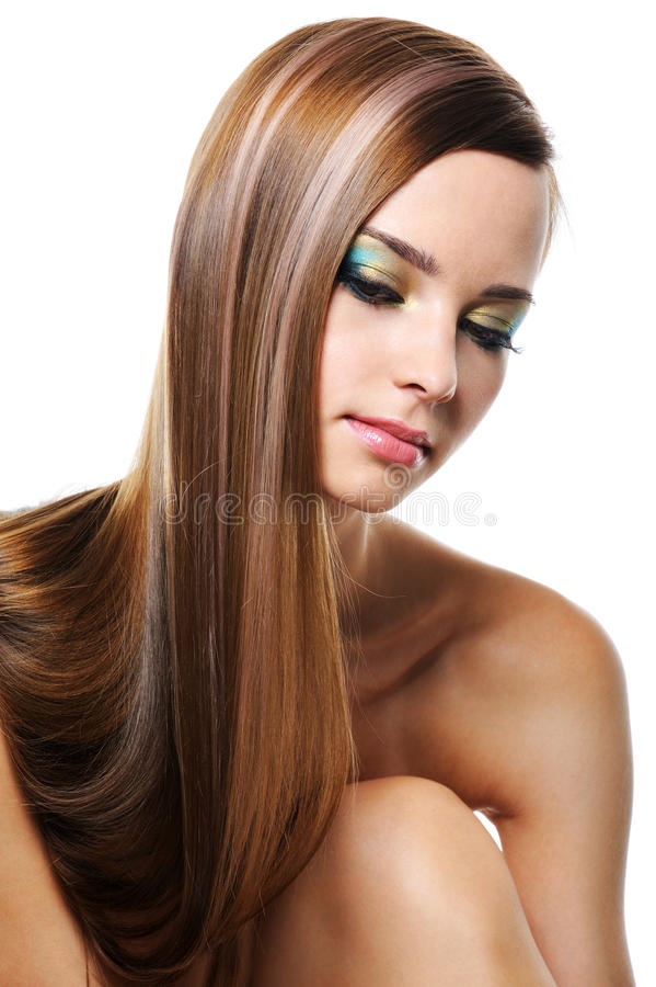 Portrait of beautiful girl with gloss long hair. Portrait of beautiful girl with smooth gloss long hair - isolated on white stock photo