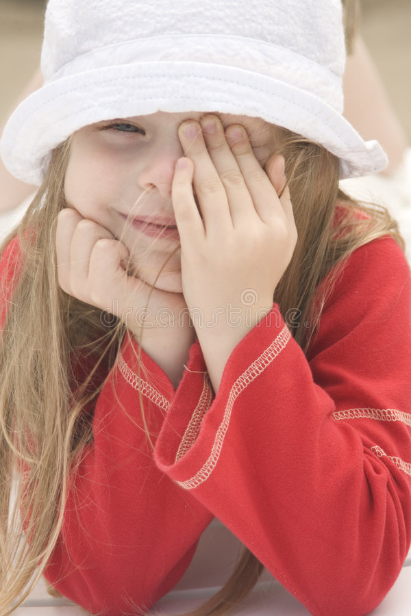 Portrait of a beautiful girl in hat II stock photography
