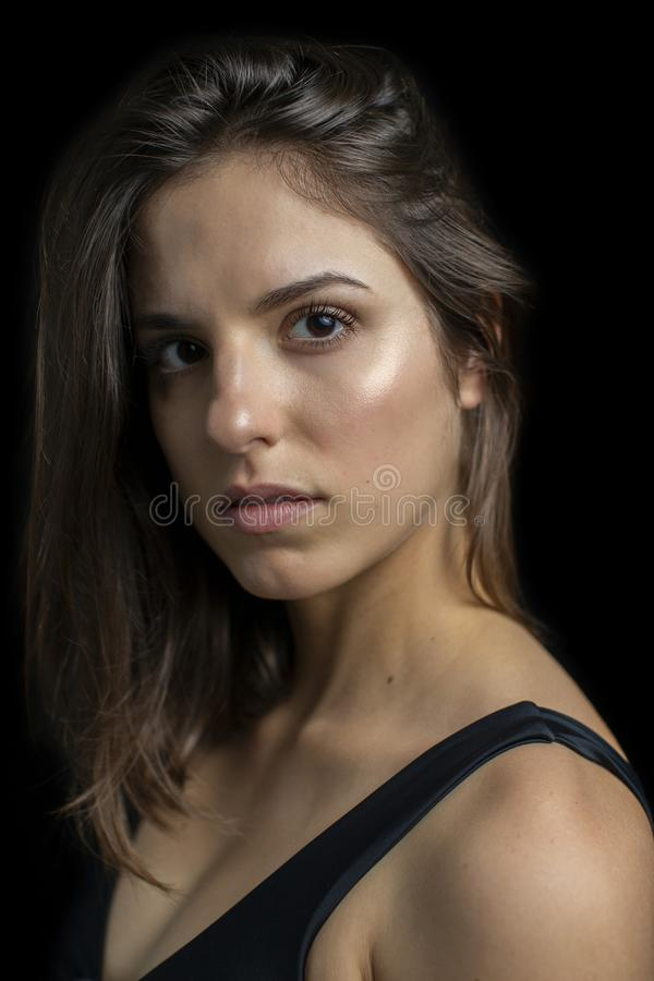 Portrait of a beautiful girl with long eyelashes royalty free stock photo