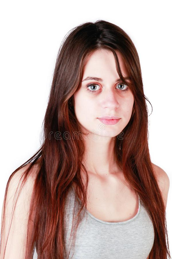 Portrait of a beautiful girl with long hair stock images