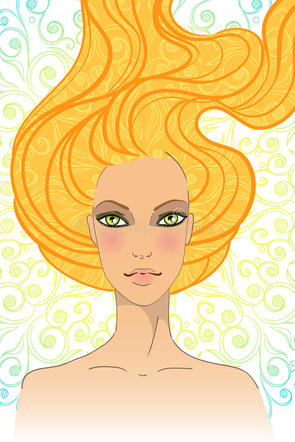 Download Portrait Of Beautiful Girl With Long Hair Stock Vector - Image: 25496523