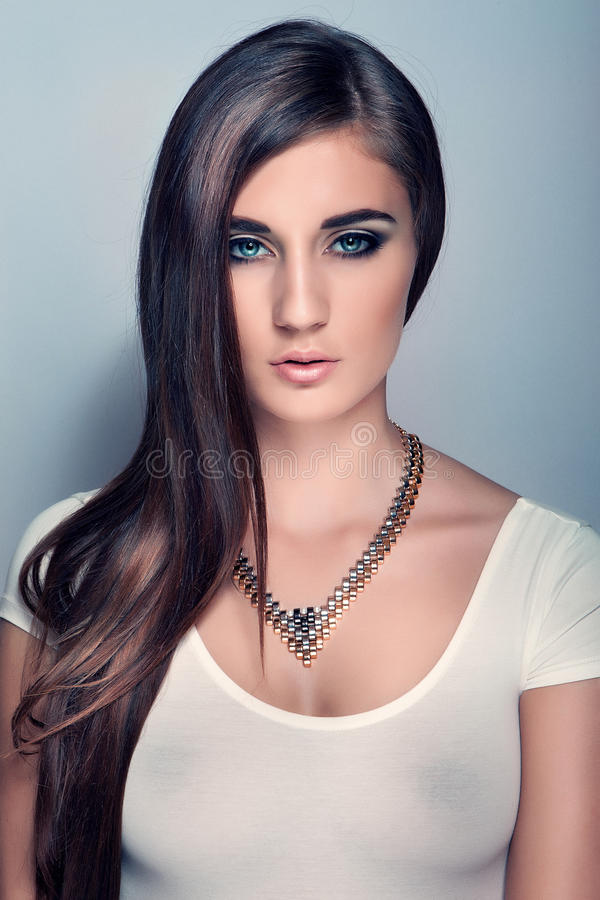 Portrait Beautiful Girl With Long Hair, Blue Eyes Royalty Free Stock Photography