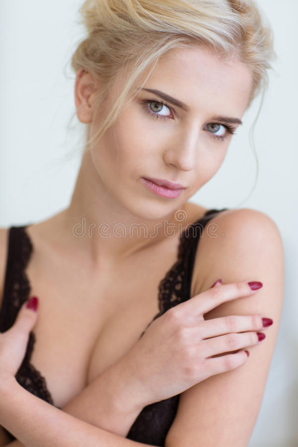 Portrait of a beautiful girl. Looking at camera stock photography
