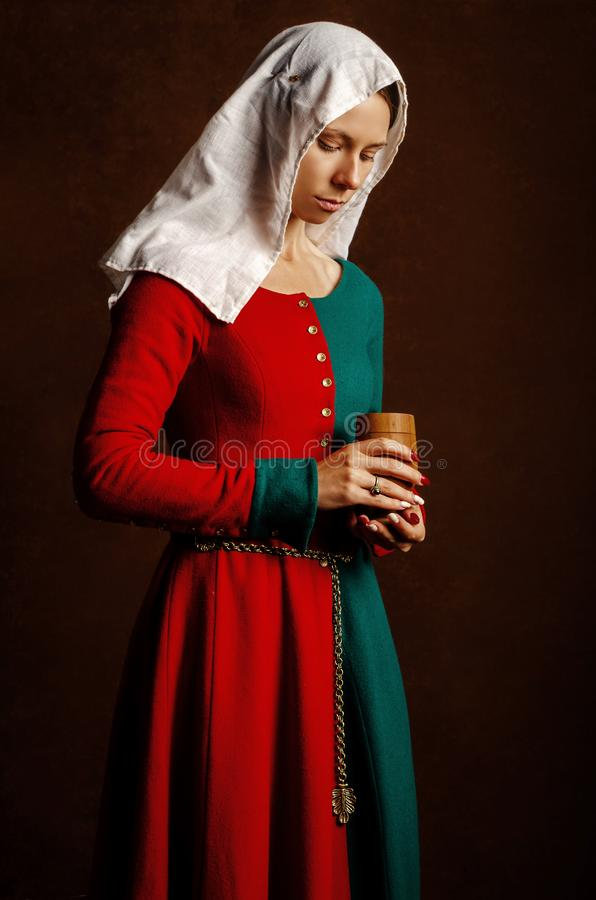 Portrait of a beautiful girl in a medieval dress in red and green on a brown background. Hobbies - the reconstruction of the medieval royalty free stock photography