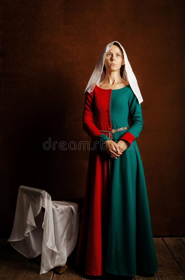 Portrait of a beautiful girl in a medieval dress in red and green on a brown background royalty free stock photography