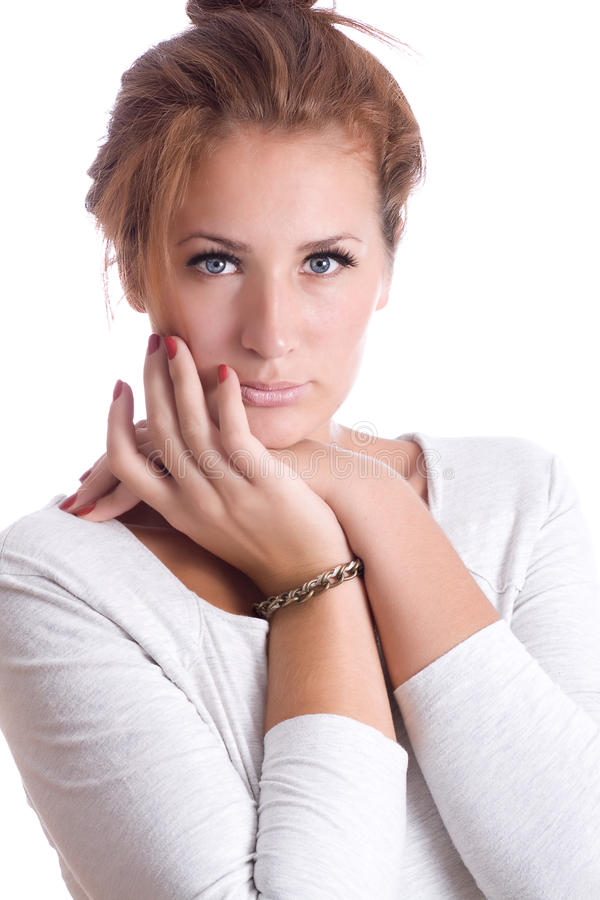 Portrait of a beautiful girl with piercing eyes stock image