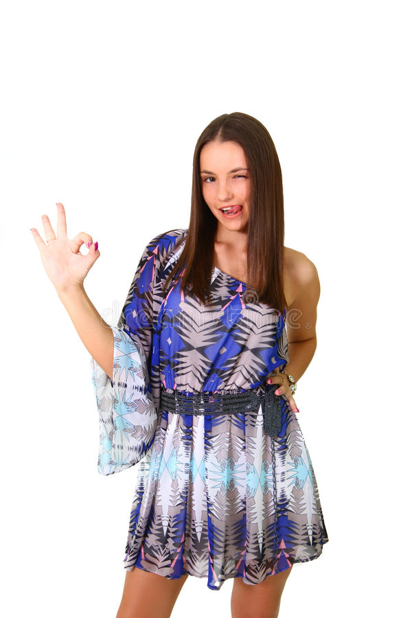 Portrait Of Beautiful Girl Showing Ok Sign And Smiling Stock Photos