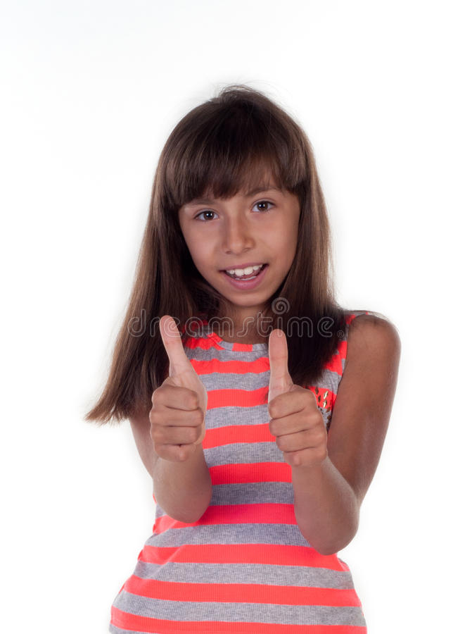 Download Portrait Of A Beautiful Girl Showing Thumbs Up Stock Photo - Image: 32346094