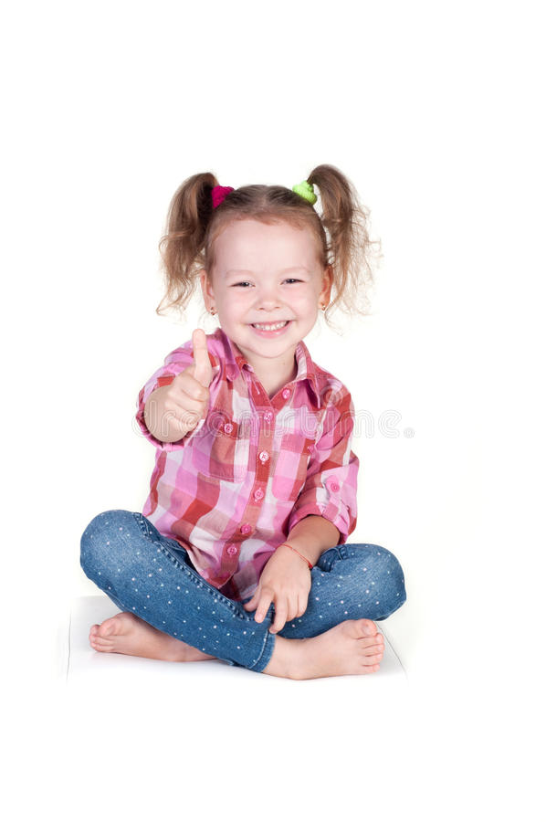 Download Portrait Of A Beautiful Girl Showing Thumbs Up Stock Photo - Image: 33298046