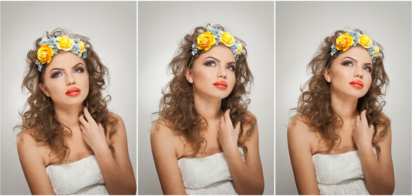 Portrait of beautiful girl in studio with yellow roses in her hair and naked shoulders. young woman with professional makeup stock photos