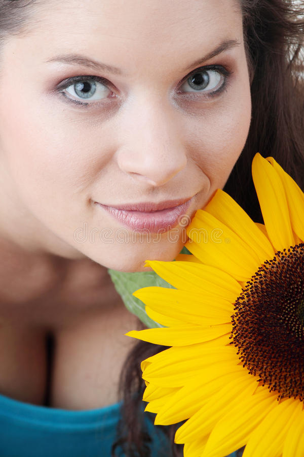 Download Portrait Of A Beautiful Girl With Sunflower Stock Image - Image: 10288135