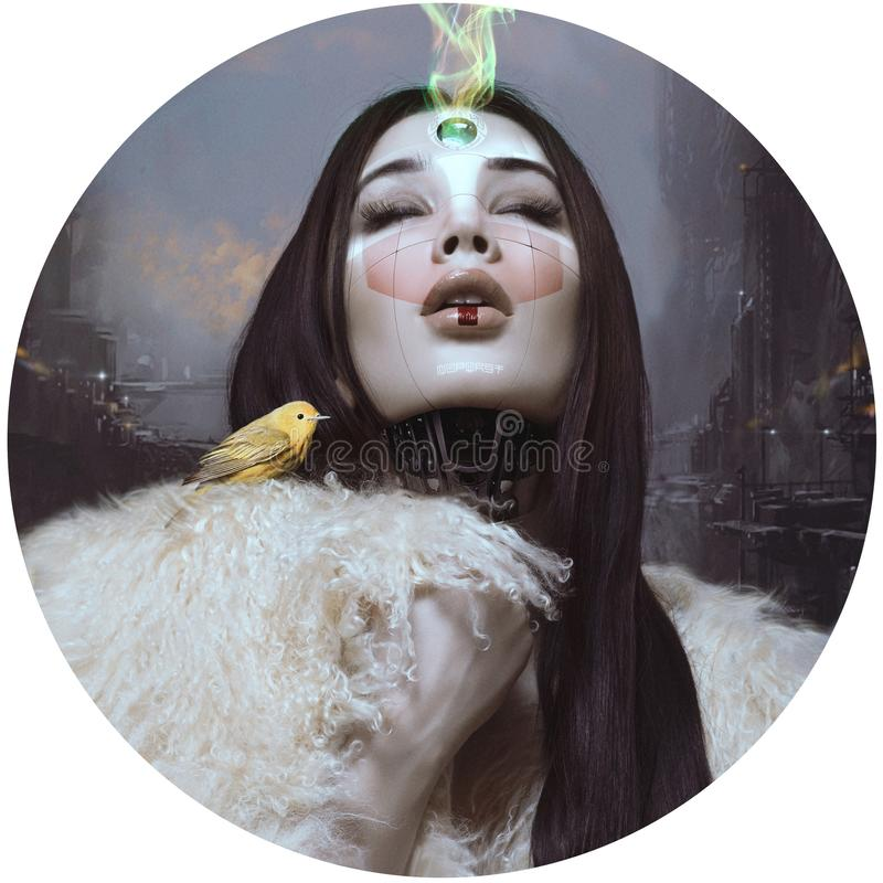 Portrait of a beautiful girl. Surrealism. Computer art. Fiction future stock photos