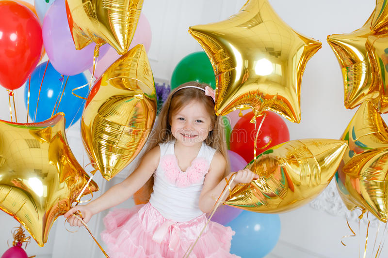 Portrait of a beautiful girl on your birthday royalty free stock photos