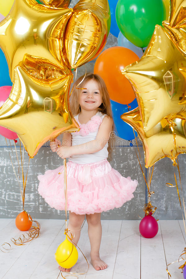 Portrait of a beautiful girl on your birthday stock photography