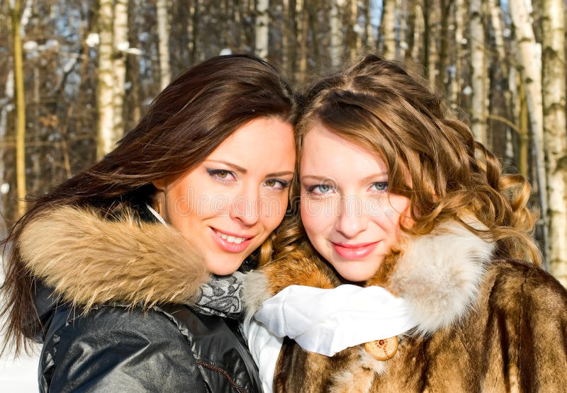 Portrait of beautiful girls stock photo