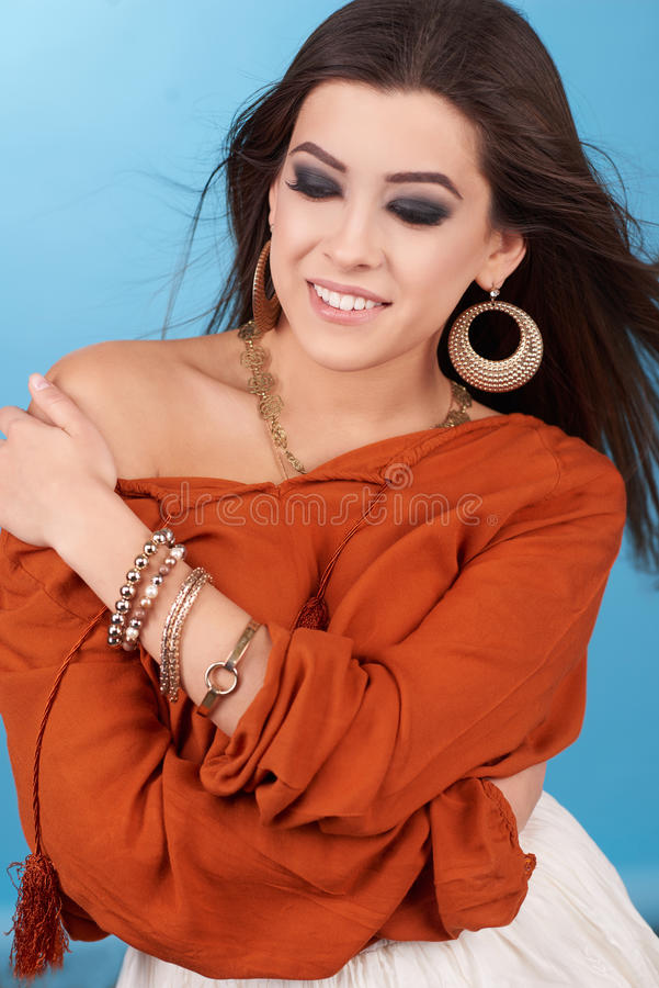 Portrait of beautiful glamor hipster young hippie woman in studio. Boho style stock photos