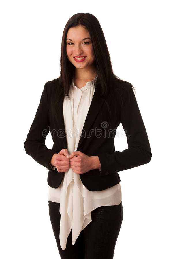 Portrait of a beautiful happy asian business woman isolated over royalty free stock image