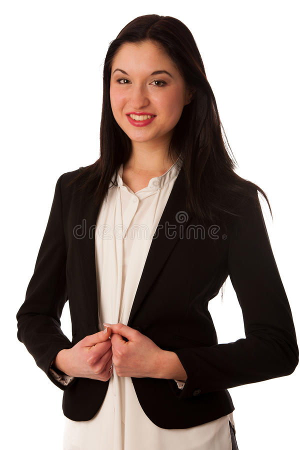 Portrait of a beautiful happy asian business woman isolated over stock photography