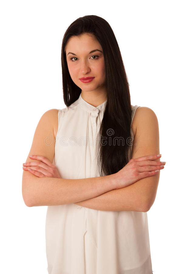 Portrait of a beautiful happy asian business woman isolated over stock images
