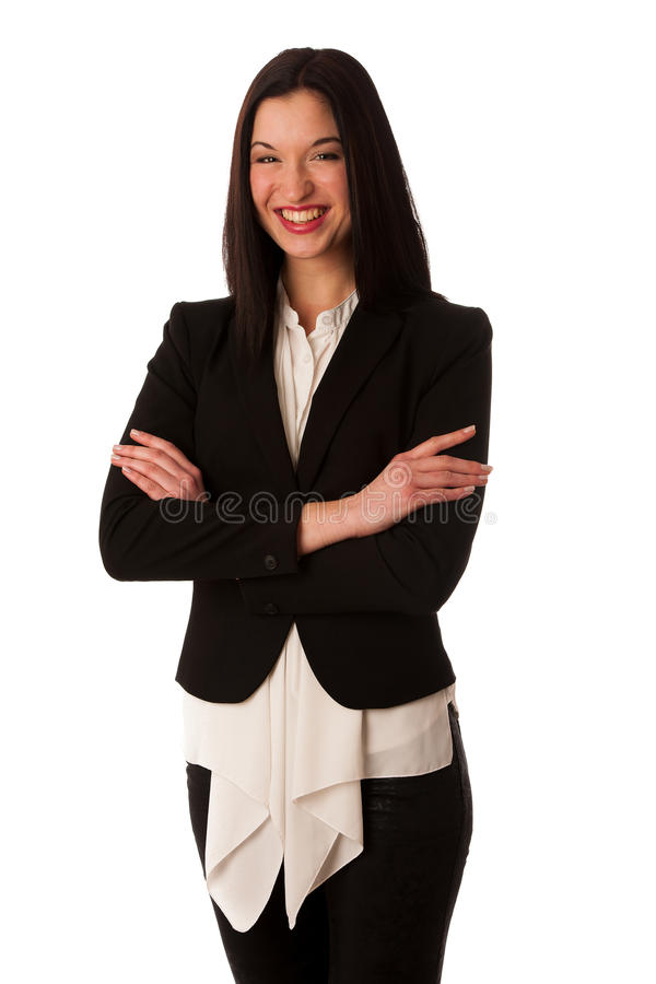 Portrait of a beautiful happy asian business woman isolated over royalty free stock photography