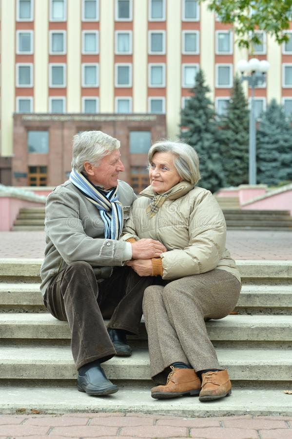 Portrait of beautiful happy mature couple resting together outdoors royalty free stock photo