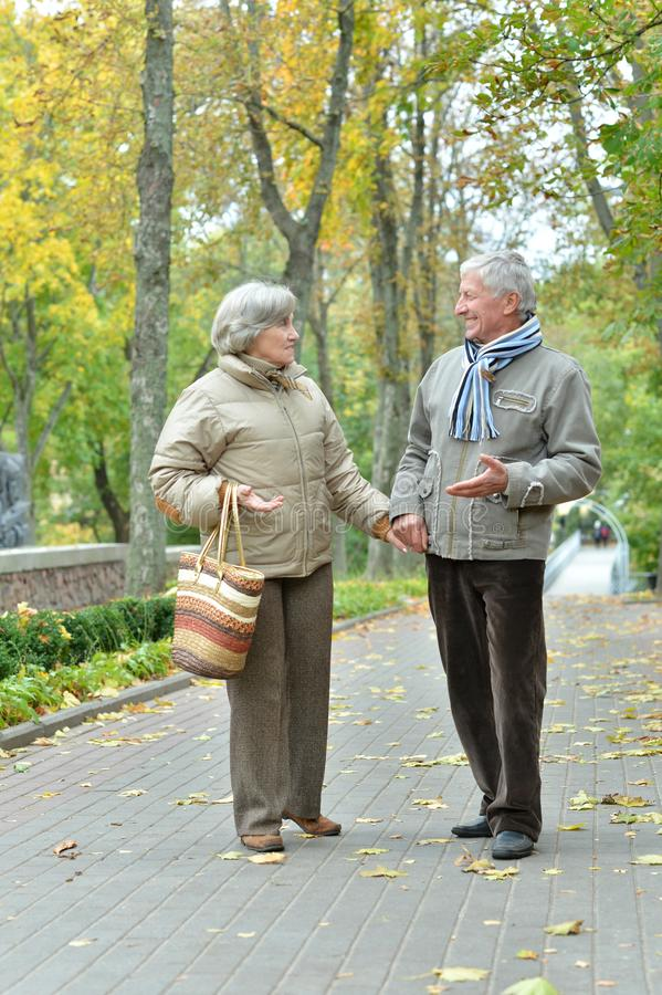 Portrait of beautiful happy mature couple resting together outdoors stock photography