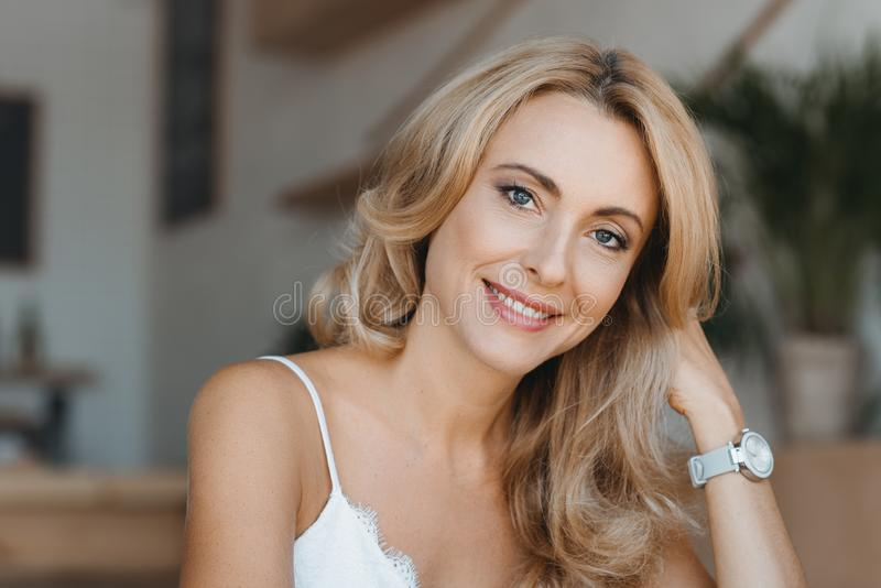 portrait of beautiful happy middle aged woman royalty free stock photography