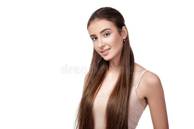Portrait of beautiful happy woman royalty free stock photos