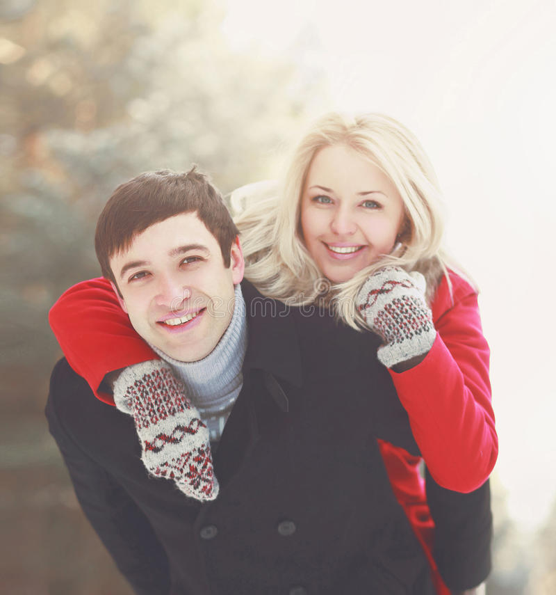 Portrait of a beautiful happy young couple in love stock photo