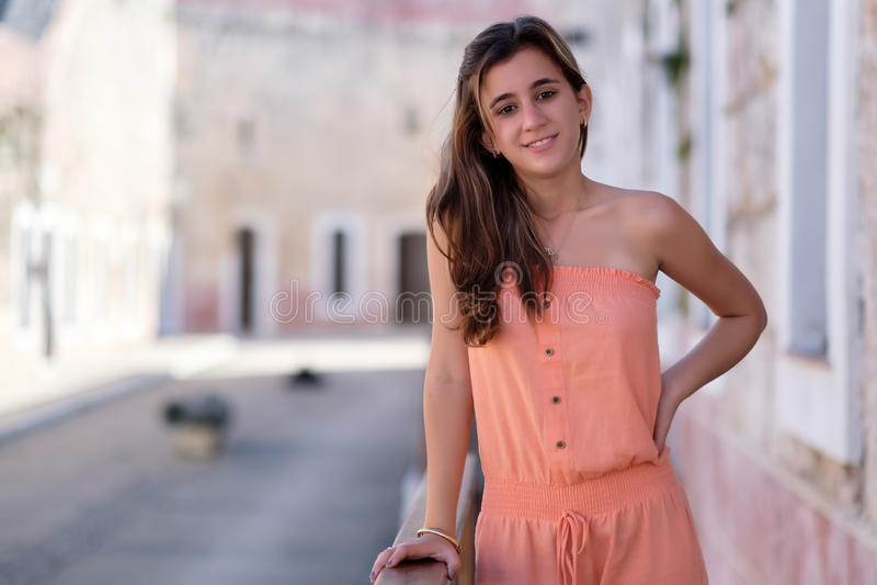 Portrait of a beautiful hispanic teenage girl. Outdoor portrait of a beautiful hispanic teenage girl stock photo