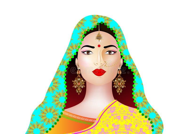 Portrait of beautiful indian girl. Young hindu woman model with kundan jewelry set. Traditional India costume lehenga choli saree royalty free illustration