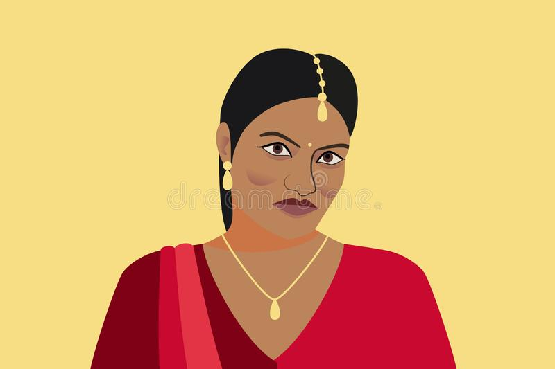 Portrait of beautiful indian woman. A young Hindu girl in traditional clothes and with golden jewelry. Woman in red sari and tika stock illustration