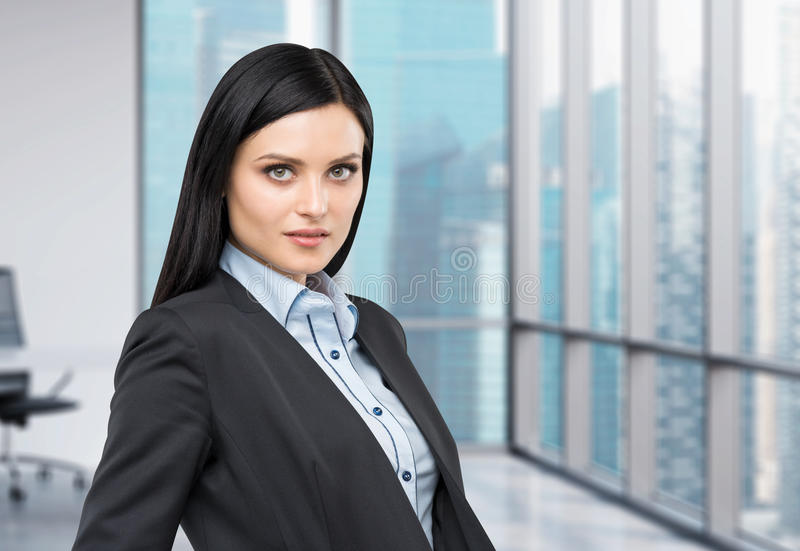 Portrait of a beautiful lady in a formal suit. Panoramic business city view from the modern office. stock image