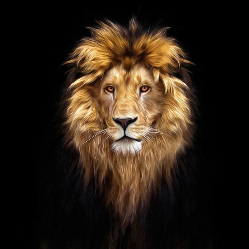 Portrait of a Beautiful lion, lion in the dark. Oil paints stock image