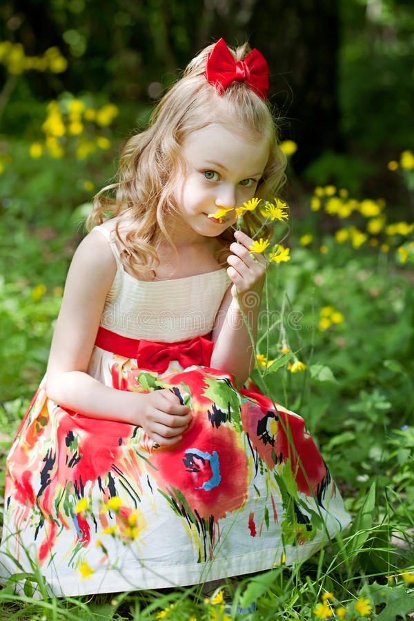 Portrait of the beautiful little girl stock image