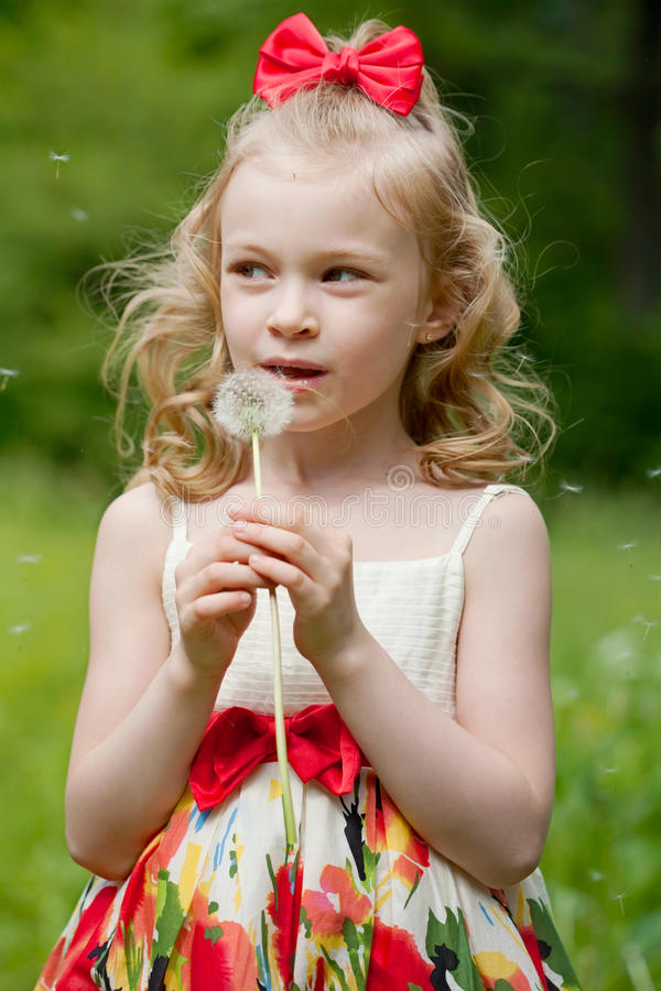 Portrait of the beautiful little girl royalty free stock photography