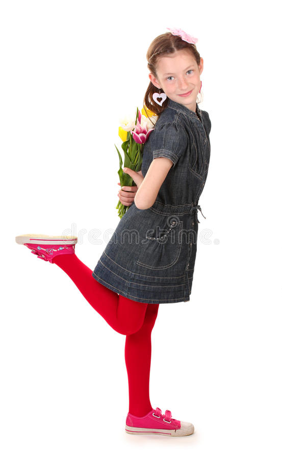 Download Portrait Of Beautiful Little Girl With Tulips Stock Photo - Image: 25829586