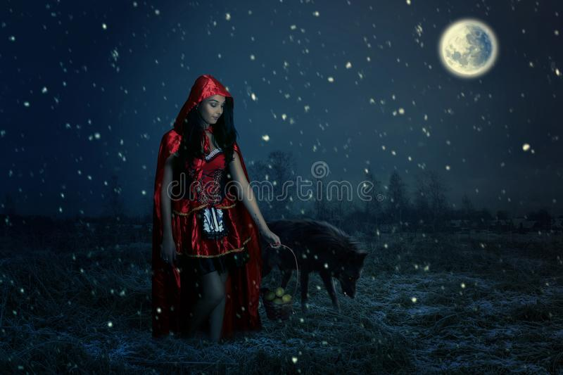 Portrait of a beautiful little Red Riding Hood royalty free stock photography