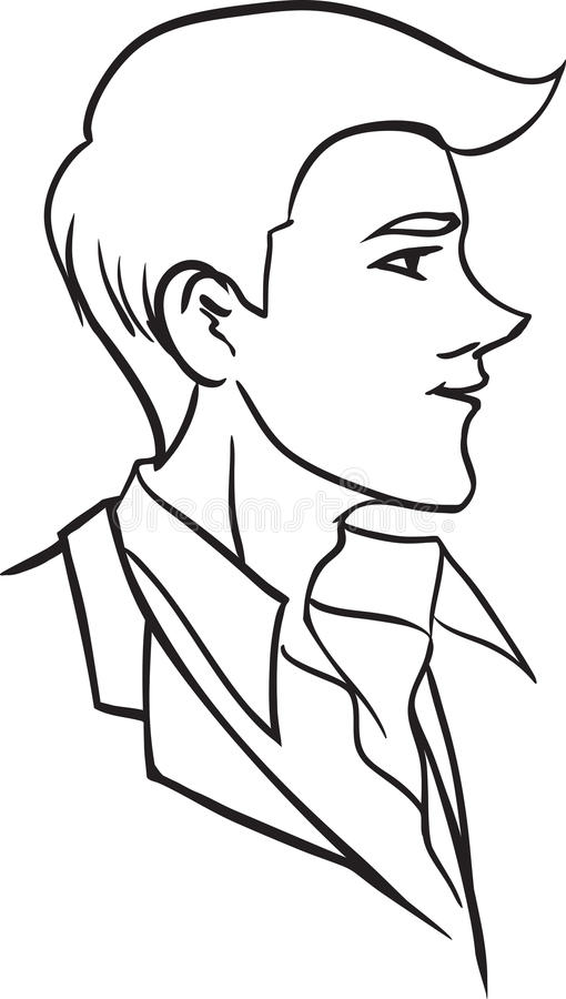 Portrait of beautiful man in profile royalty free illustration