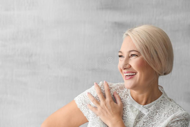 Portrait of beautiful mature woman stock images