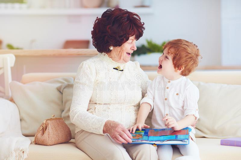 portrait of beautiful mature woman 80 years old lady with her great-grandson at home, reading educational book together stock photography