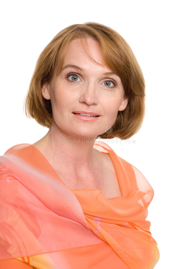 Portrait beautiful middle aged woman royalty free stock image