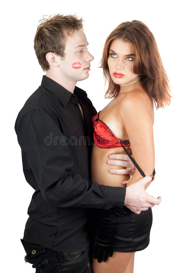 Portrait of the beautiful playful young couple stock photo