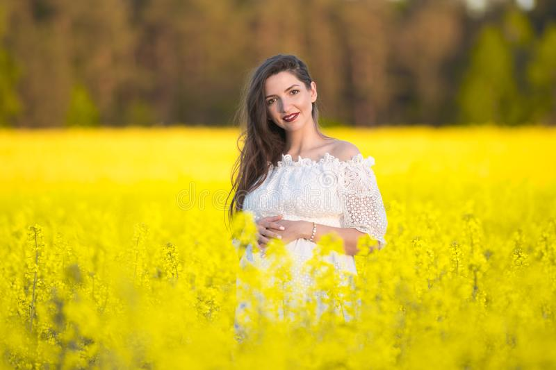 Portrait of a beautiful pregnant girl. Belly of a pregnant woman in a yellow field stock photo