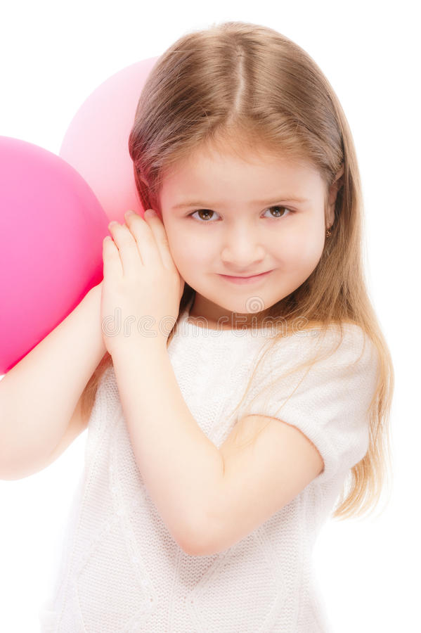 Portrait of beautiful preschool child with balloon stock images