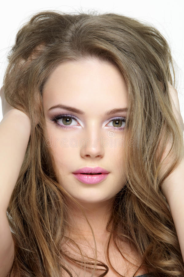 Portrait of beautiful pretty face of young girl