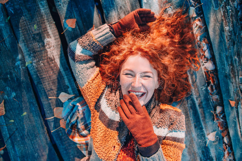 Portrait of beautiful redhaired girl stock photo