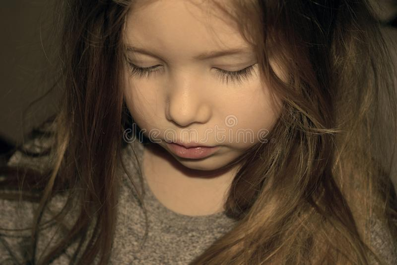 Young girl with sad look on face royalty free stock images