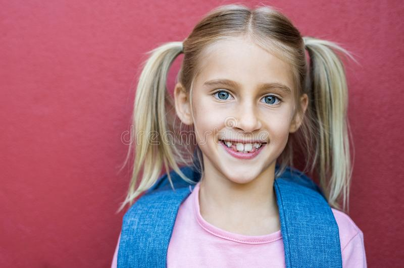 Happy school girl smiling royalty free stock images